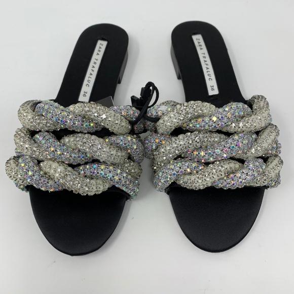 Zara Jeweled Braided Gem Sandals Slides 36 US 6 697fc8614d31c